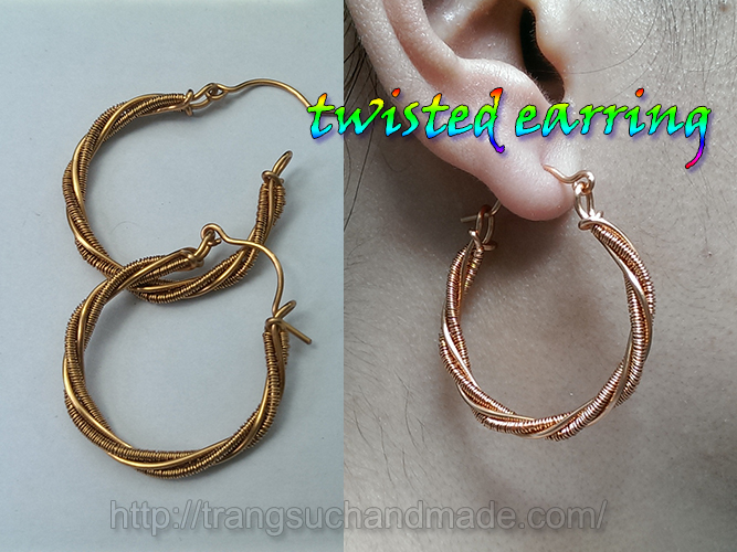 Twisted earring from copper wire – handmade jewelry design 344 ...