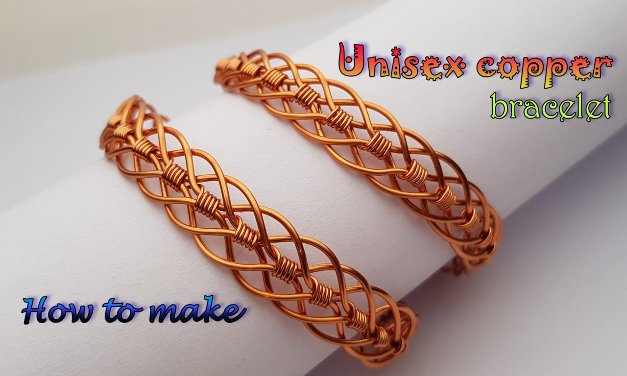 unisex braided copper bracelet � handmade jewelry for men