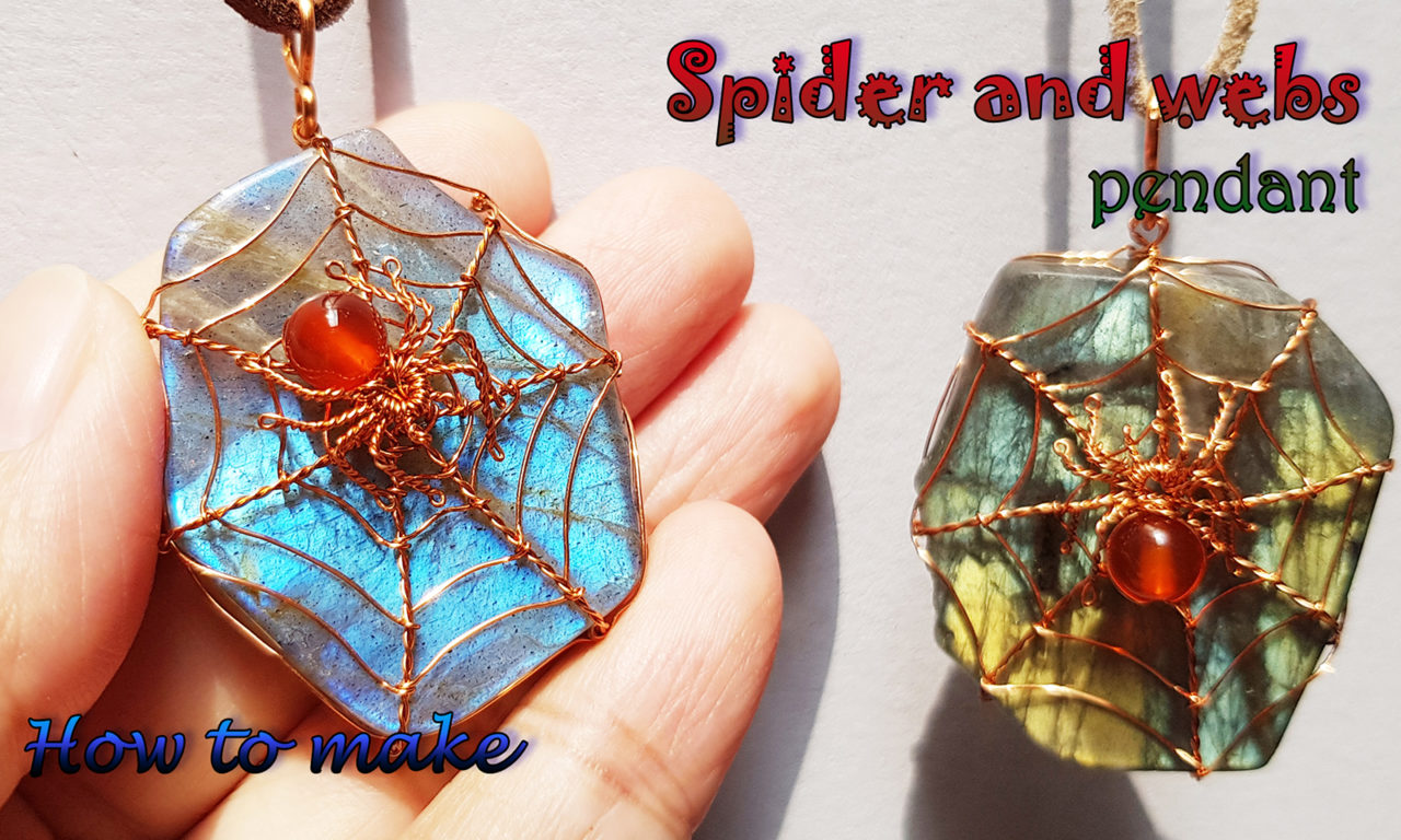 Spider And Spider Webs With Freeform Labradorite Slices Undrill Pendant Ideas For Halloween Jewelry 419 Lananh Handmade